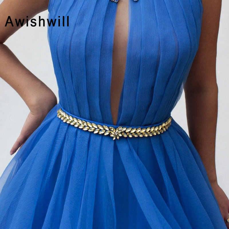 Colore blu 2019 Abiti da ballo Una Linea di Alto Collo Bordato di Fiori di Tulle Lungo Abito Del Partito Abito Da Sera Elegante Robe De Soiree