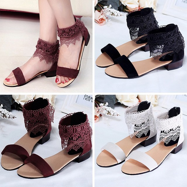 8ecf7b954 Novo estilo de sapatos de sandálias Femininas sandálias moda boemia rendas  mulheres sapatos casuais tamanho 35