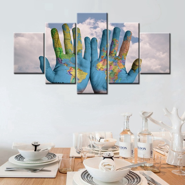 World map graffiti on the palm of your hand 5 panels canvas painting world map graffiti on the palm of your hand 5 panels canvas painting for bedroom wall gumiabroncs Choice Image