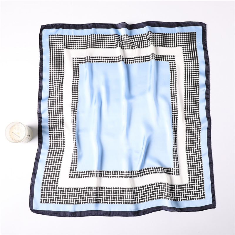 Image 5 - women polka dot printed soft handle bag femme hair foulard wraps  muslim hijab headband bandana square silk scarf 70x70Womens Scarves