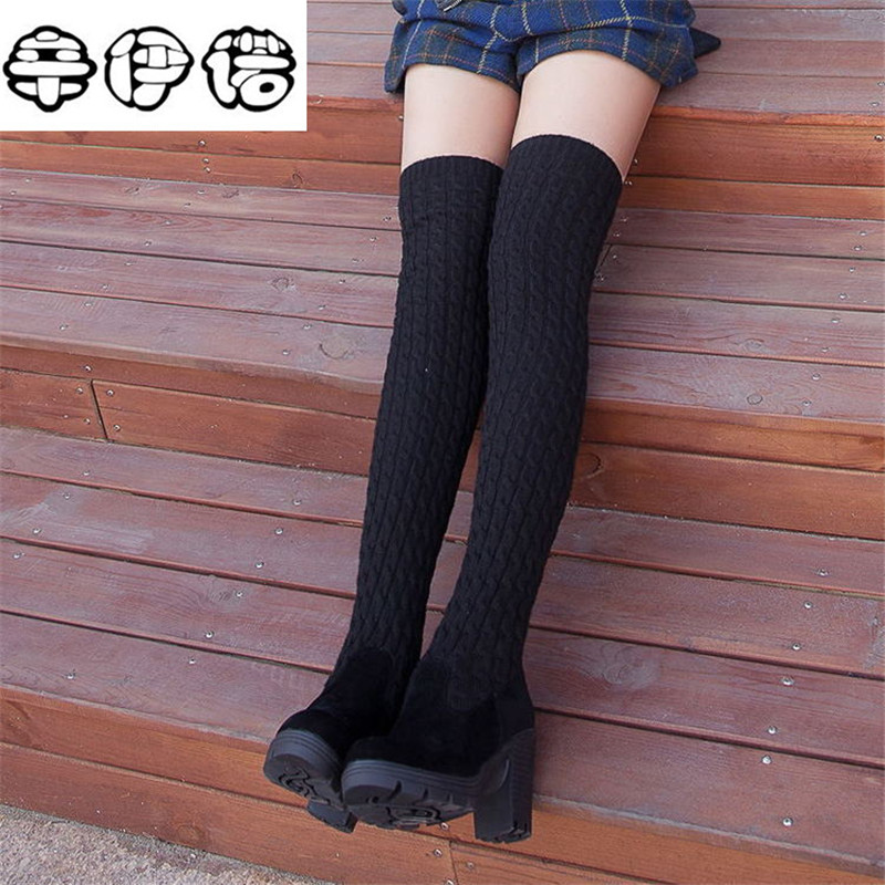 Hot Sale 2017 Fashion Knitted Women Knee High Boots Elastic Slim Autumn Winter Warm Long Thigh High Boots Woman Shoes Size 40 fashion women boots knee high elastic slim autumn winter warm long thigh high knitted boots woman shoes or935432