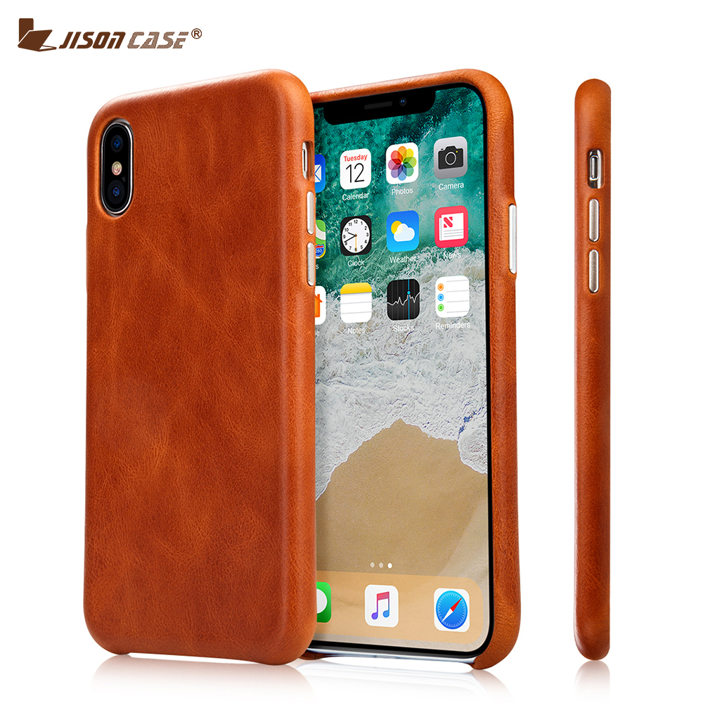 Jisoncase Genuine Leather Case for iPhone X Case Cover