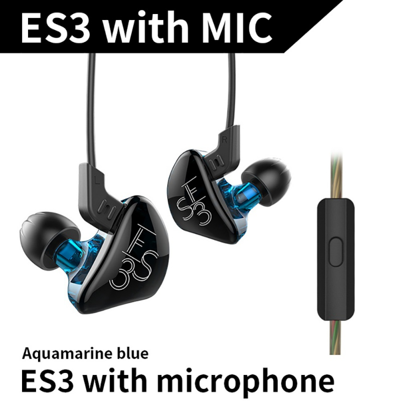 KZ ES3 Balanced Armature With Dynamic In-ear Earphone Hybrid Driver Noise Cancelling Headset With Mic Replacement Cable K5 kz zsr bluetooth headphones balanced armature with dynamic in ear earphone 2ba 1dd unit noise cancel headset replacement cable