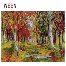 WEEN Fall Leaves Diy Painting By Numbers Abstract Forest Oil On Canvas Autumn Cuadros Decoracion Acrylic Home Decor