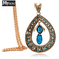 Mymmu New Hollow Water Drop Cirlce Pendant Women Sweater Necklace Blue Red Crystal Rhinstone Chain Long