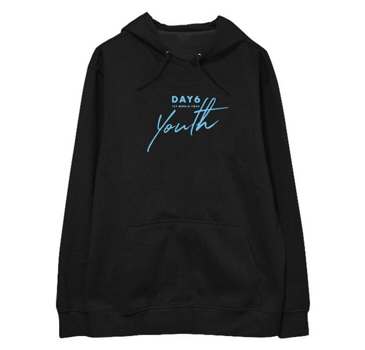 Autumn Winter Kpop Day6 1st World Concert Youth Printing Pullover Hoodies Unisex Fashion Fleece/thin Loose Sweatshirt 6 Colors