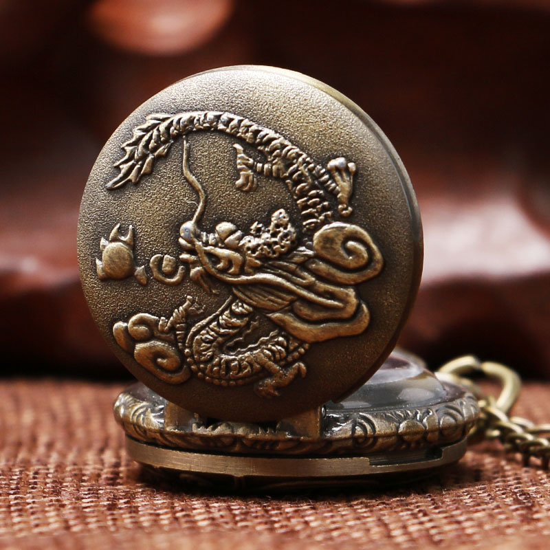 Small Size Dragon Design Pocket Watch Men Boy Pendant Watches Gift P917
