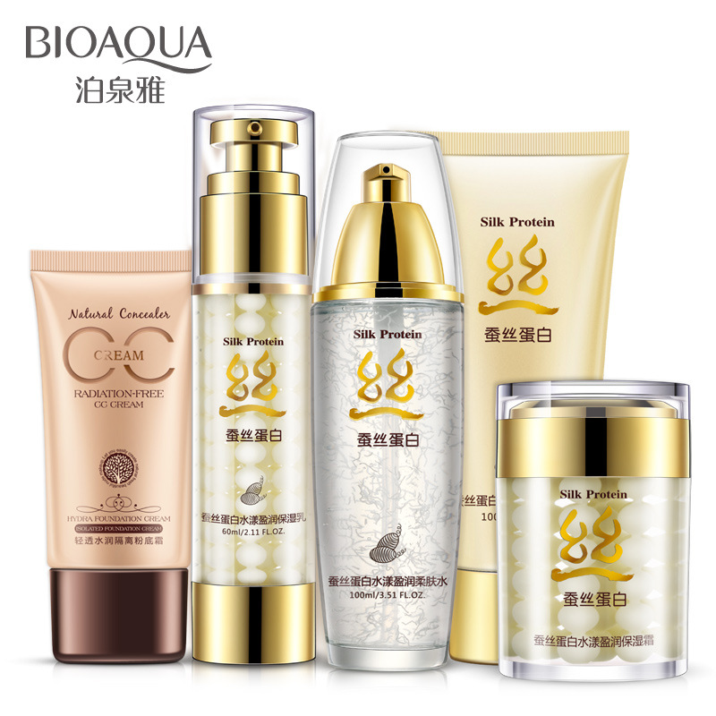 BIOAQUA silk protein Moisturizing Facial Care Suit 5pcs set Essence Cream+Essence Liquid+Toner+Cleanser+ CC Cream Whitening olive honey bomb essence skin care set moisturizing whitening facial cream eye cream cleanser essence milk essence lotion