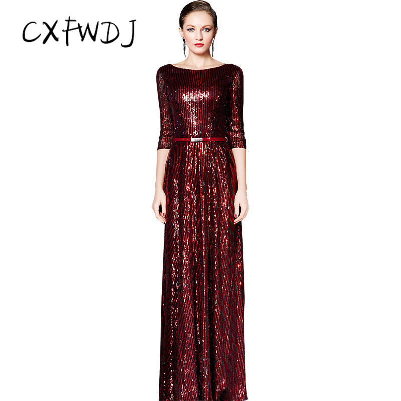 Sequin Long Section Women's Evening Wear Dressse Classic Style Red Wine color Belt Prom Party High Quality Support Customization