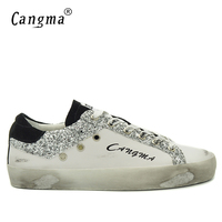 CANGMAยี่ห้อรองเท้าผ้าใบย้อนยุคสไตล์ลำลองรอง