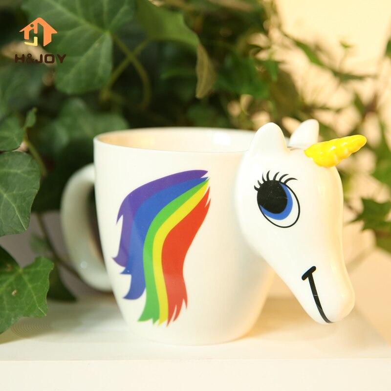 Unicornio de dibujos animados taza decoloración para Dropship 3D unicornio taza mágica taza cambiante del color mágico caballo Tazas café