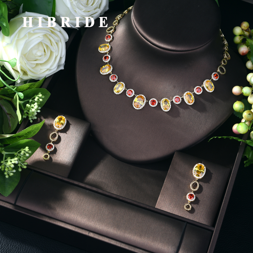 HIBRIDE New Fashion AAA Cubic Zirconia Necklace Jewelry Set for Women Wholesale 2pcs Jewelry Sets Drop
