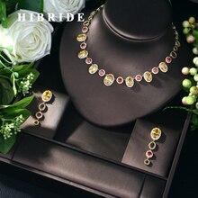 HIBRIDE Новое модное ожерелье из фианита AAA, оптовая продажа, ювелирные наборы из 2 предметов, Прямая поставка, бижутерия