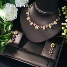 HIBRIDE Nieuwe Mode AAA Zirconia Ketting Sieraden Set voor Vrouwen Groothandel 2 stuks Sieraden Sets Drop Shipping Bijoux N 553
