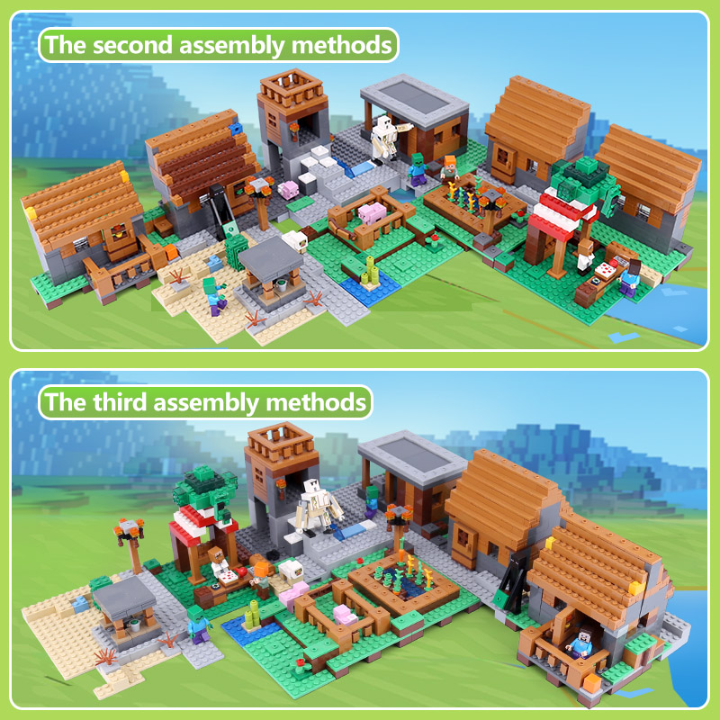 1600+pcs Model building kits lepin 18008 compatible with 21128 my worlds Village blocks Educational toys hobbies birthday gifts lepin model building kits compatible with lego 21115 my worlds minecraft the first night educational toys hobbies for children
