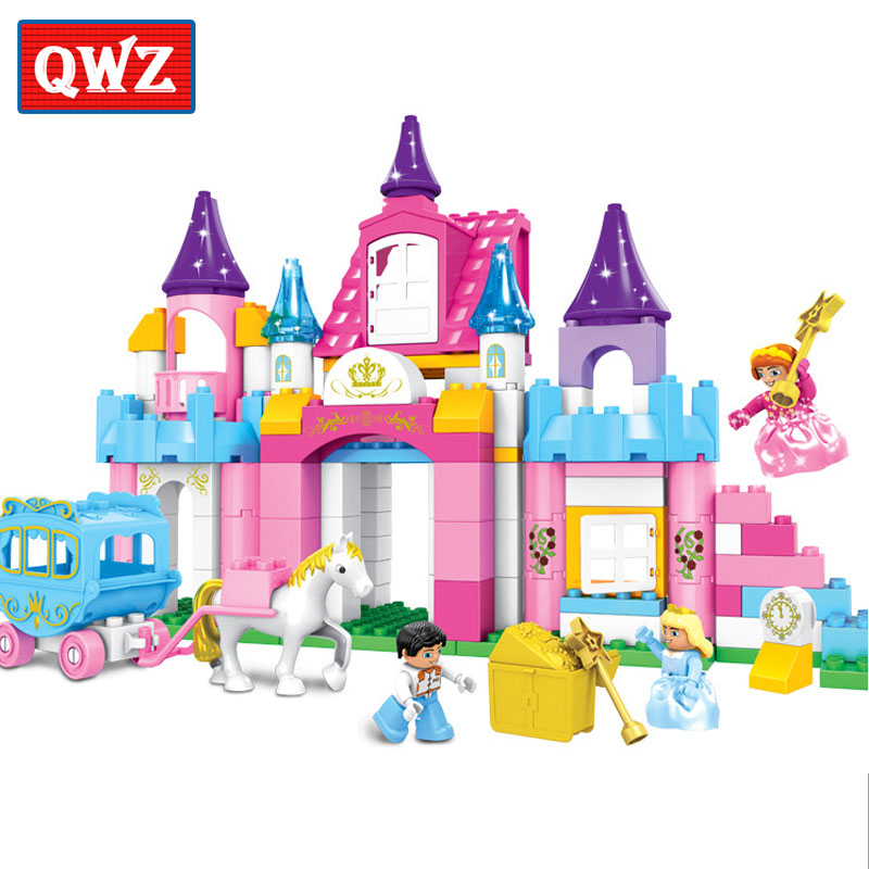 QWZ 146pcs Girl's Pink Princess Castle Model Large Particles Building Blocks Bricks Kids DIY Toy Compatible With Duplo Baby Gift qwz 39 65pcs farm animals paradise model car large particles building blocks large size diy bricks toys compatible with duplo