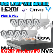 CCTV 8-КАНАЛЬНЫЙ Беспроводной Ночного Видения Видеонаблюдения Открытый Ip-камера Системы 720 P/960 P HD WI-FI Nvr комплекты Бесплатная доставка