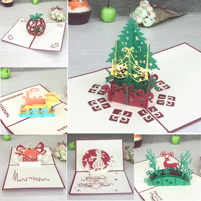 Custom Christmas Cards.Us 1 13 29 Off Merry Christmas Vintage 3d Laser Cut Pop Up Paper Handmade Custom Greeting Cards Christmas Gifts Souvenirs Postcards Supplies In