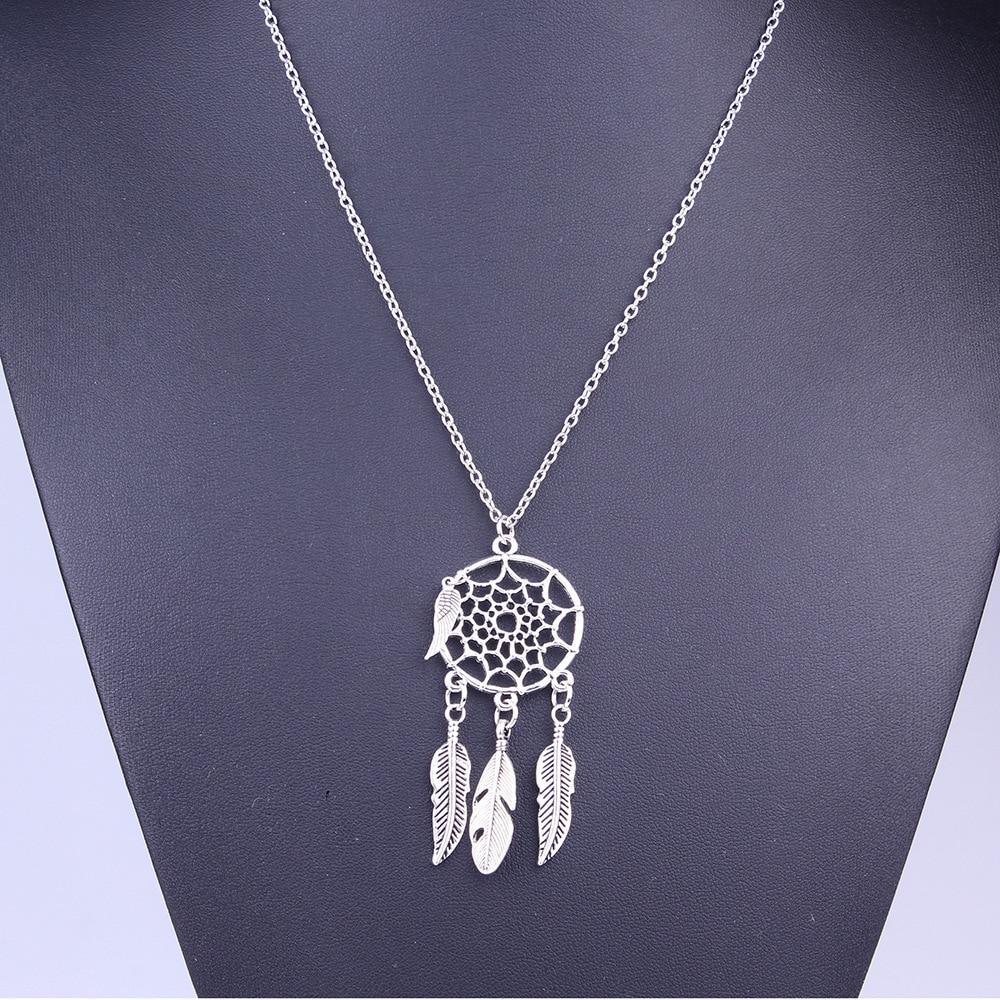 c8de09dd805 2016 New Attrape Reve Bijoux Femme Collier Plumes Pendentif Feuille Attrape  Reve Boho Vintage Dream Catcher Necklaces For Sale-in Chain Necklaces from  ...