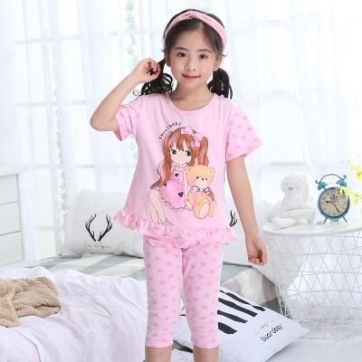 цена на 2018 summer children's pajamas girls short-sleeved thin models home service suit little girl cute princess sleep home service