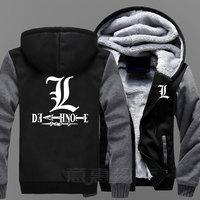 New Death Note Hoodie Coat Jacket Winter Men Thick Zipper Sweatshirt