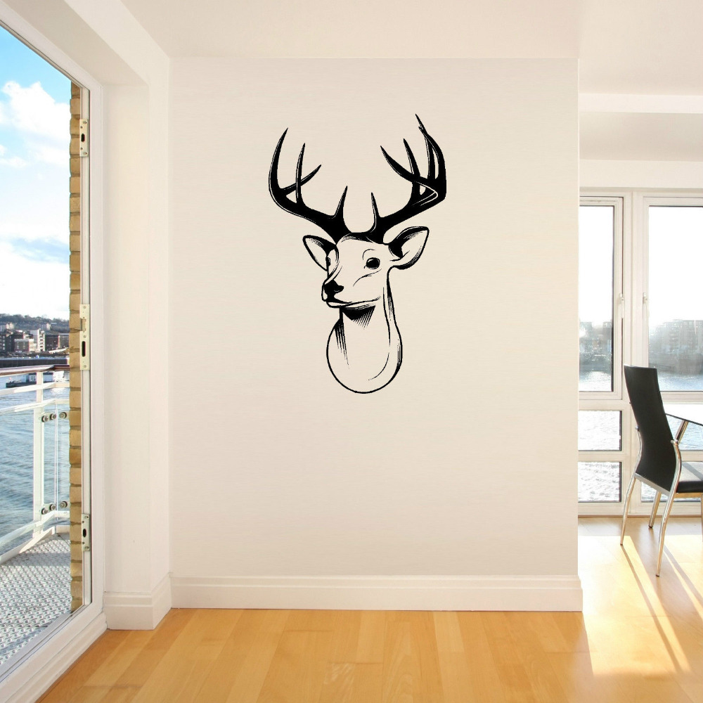 3d stags head deer trophy antlers steer vinyl wall art sticker room decal deer head wall picture. Black Bedroom Furniture Sets. Home Design Ideas