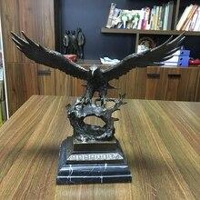 Durable Casting Bronze Crafts Flying Glede Vintage Brass Eagle Sculpture Statue With Bronze Base Hawk Figurine