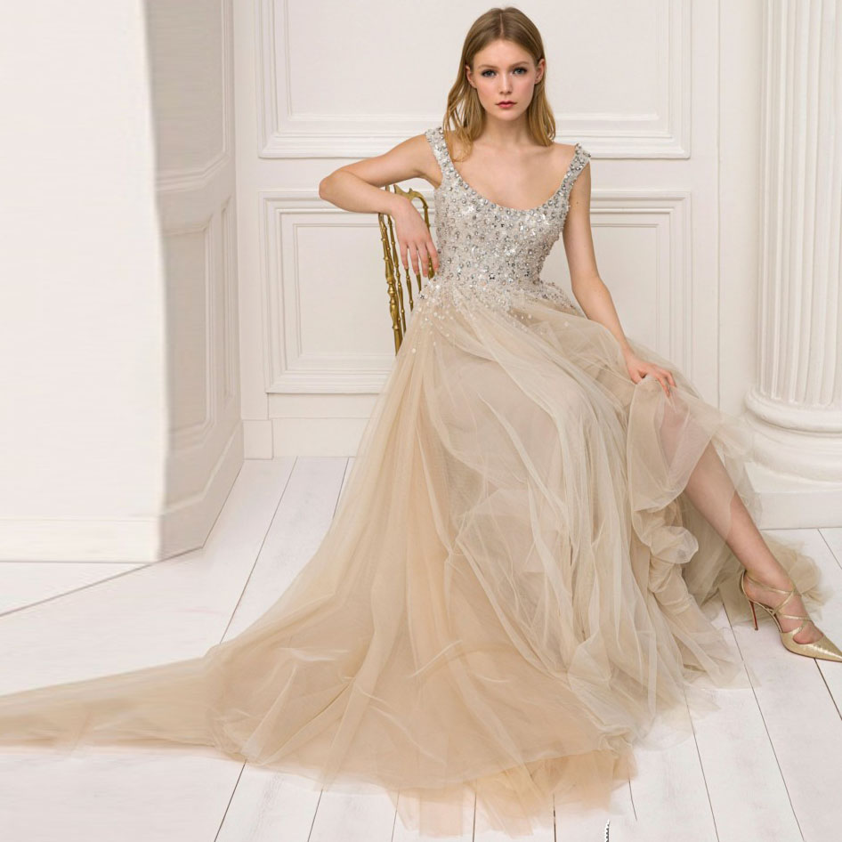 De Mode Champagne Couleur Robes Cristal D'o Robe Tulle Dame Élégant Strass 2018 Perles Longues Festa Formelle cou Bal wnqXxf558I