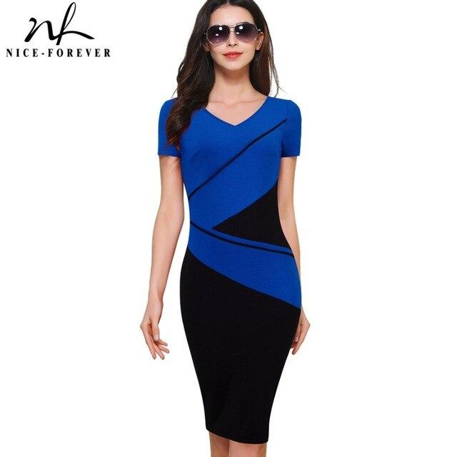 Nice-forever Vintage Elegant ColorBlock Patchwork V-Neck Bodycon Women Office Wear to Work Plus Size Business Dress B384