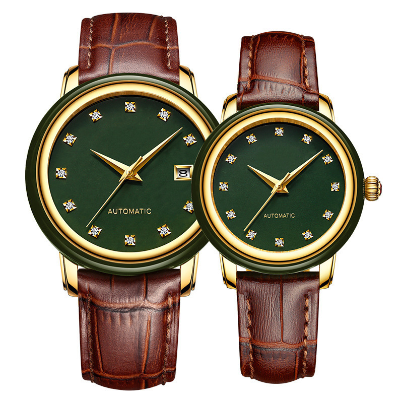 2020 Rushed Gift Hetian Jade Calendar Watches Automatic Mechanical Watch Chinese Wind Set Auger Couples Wholesale