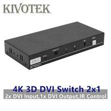 4K 3D 1080P DVI Schalter 2x1 Switcher Adapter DVI D Buchse IR Extender DTS AC3 DSD für CCTV PC DVD Kamera Freies Verschiffen