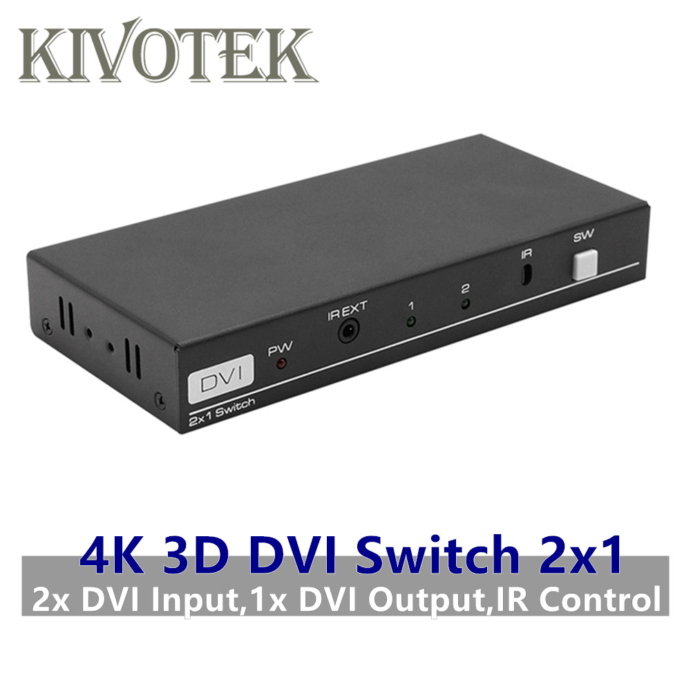 4K 3D 1080P DVI Switch 2x1 Switcher Adapter DVI D Female Connector IR Extender DTS AC3 DSD For CCTV PC DVD Camera Free Shipping-in Computer Cables & Connectors from Computer & Office