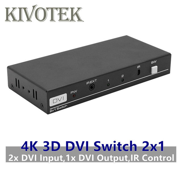 4K 3D 1080P DVI Switch 2x1 Switcher Adapter DVI D Female Connector IR Extender DTS AC3 DSD For CCTV PC DVD Camera Free Shipping