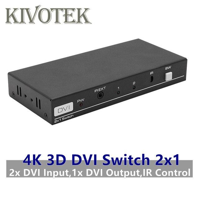 Adaptador de conmutador DVI para CCTV, PC, cámara de DVD, 4K, 3D, 1080P, 2x1, DVI D, conector hembra, extensor IR, DTS, AC3, DSD, envío gratis