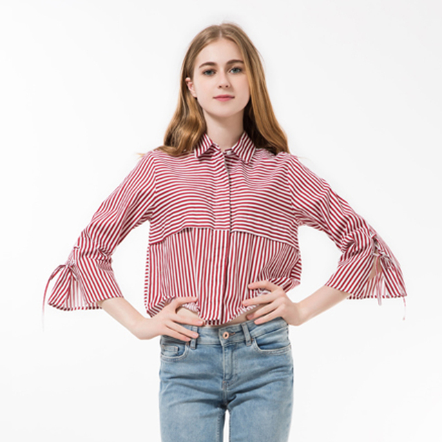 Aliexpress.com : Buy 2016 Striped Women Blouses Cute Turn down ...