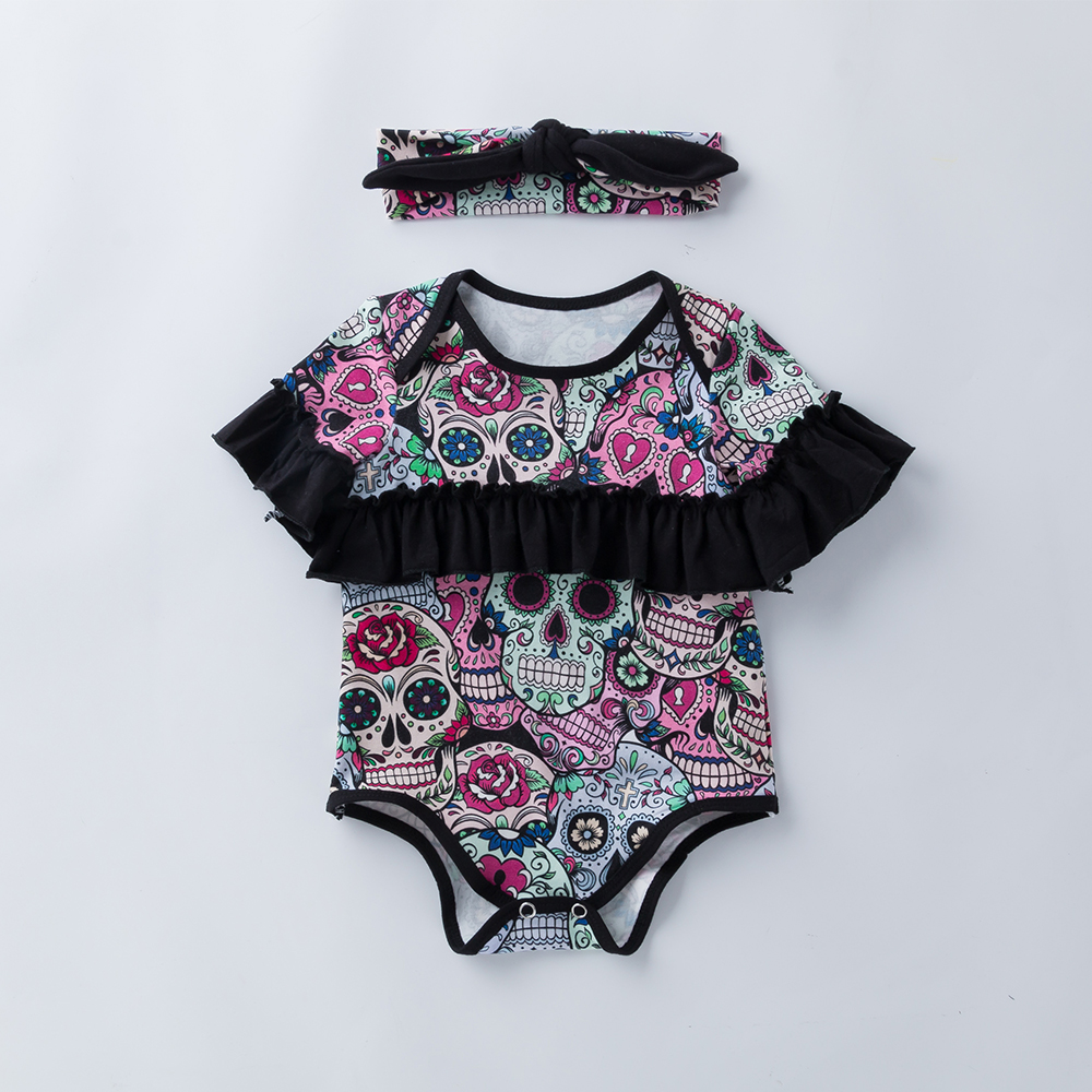YK&Loving Baby Girls Jumpsuits Halloween Party Newborn Baby Cloak Romper New Fall Skull Printed Girls Halloween Children Costume ...