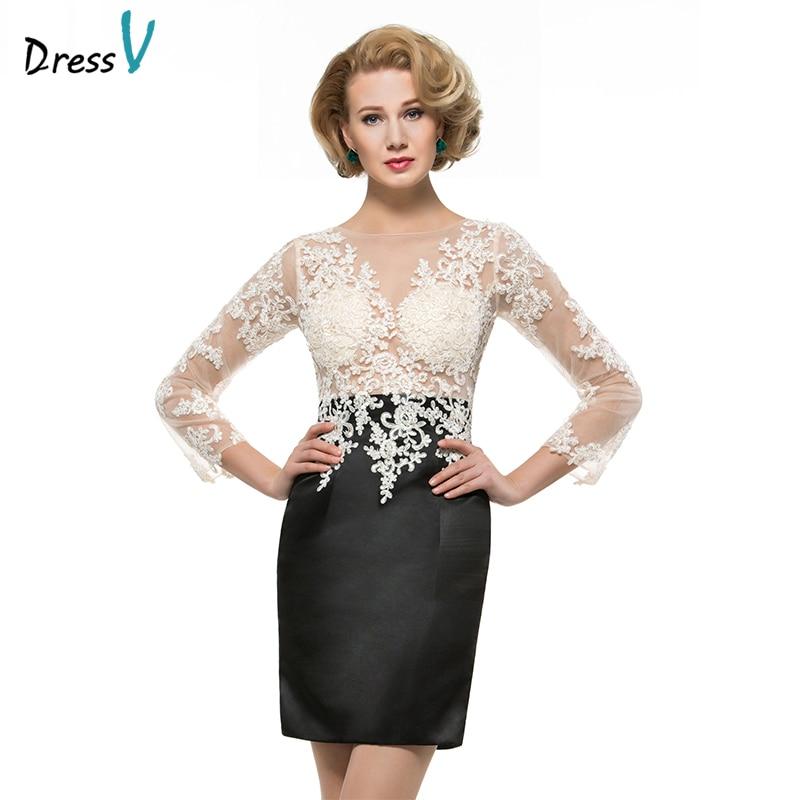 Dressv Scoop Neck Sheath 3/4 Sleeves Mother Of Bride Dress Lace Short Length Zipper Up Appliques Long Mother Evening Gown Custom