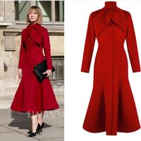 Wool Blends Coat Women autumn winter Mid Length Mermaid Fashion Button slim red woolen Coats