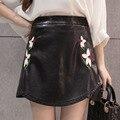 2017 Весна зима новый искусственная кожа юбка женщины цветок вышивка черный bodycon юбки реальные фото Sml XL saias faldas