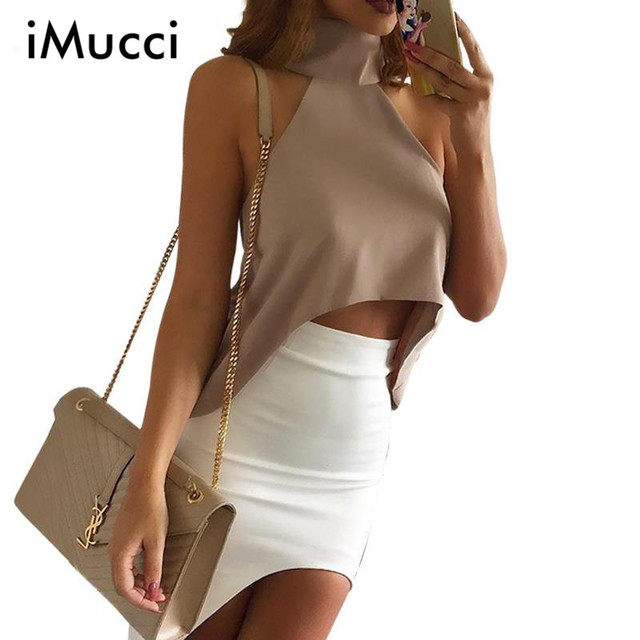 a79735b8d1402 Summer Style High Neck Halter WomenTank Top Sexy Off Shoulder Party Crop  Tops Girls Casual White