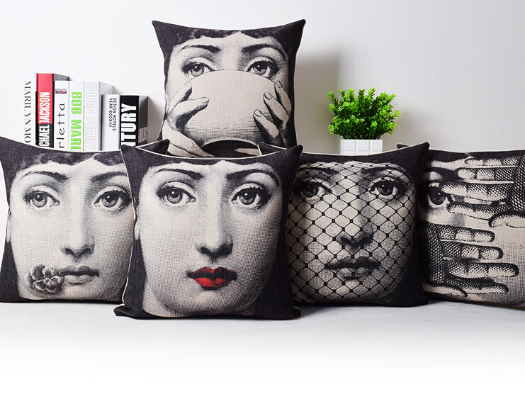 <font><b>Italian</b></font> Fornasetti Pillow Art Bedroom Living Room Cushion Bedding Set Fashion <font><b>Decorative</b></font> <font><b>Home</b></font> pillow cover wholesale