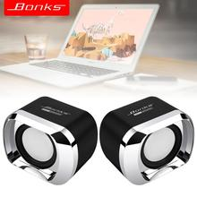 Bonks DX12 Mini Portable USB2.0 Subwoofer Small Speaker with 3.5mm Audio Plug and USB Power Plug for Desktop PC Laptop MP3 Phone