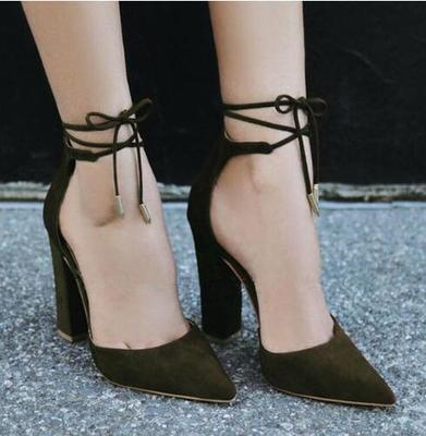 Sexy High Heels Summer Shoes Suede Leather Rough Heels Women Shoes Ankle Strap! two part ankle strap suede heels