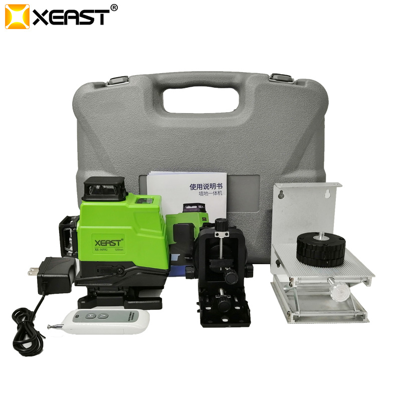 XEAST 3 4D high precision green beam 12 16 lines laser level Automatic Self Leveling 360