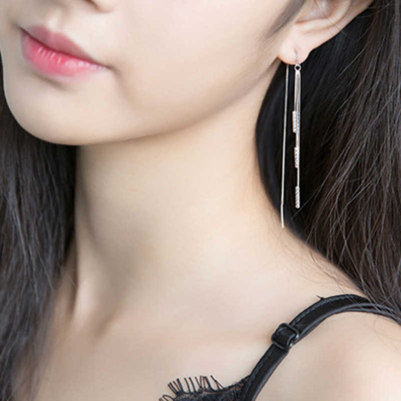 Gran oferta pendientes geométricos para mujer 925 largos cilindros largos pendientes de borlas para mujer joyería de moda