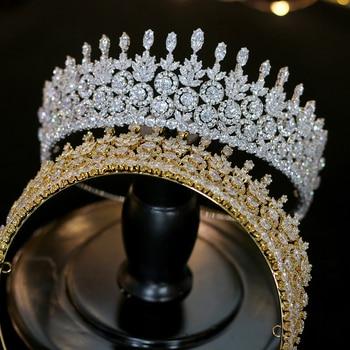 Lujo CZ-Accesorios de Corona de boda para el cabello, joyería de boda, Novia, Corona femenina, Conjunto de diseno