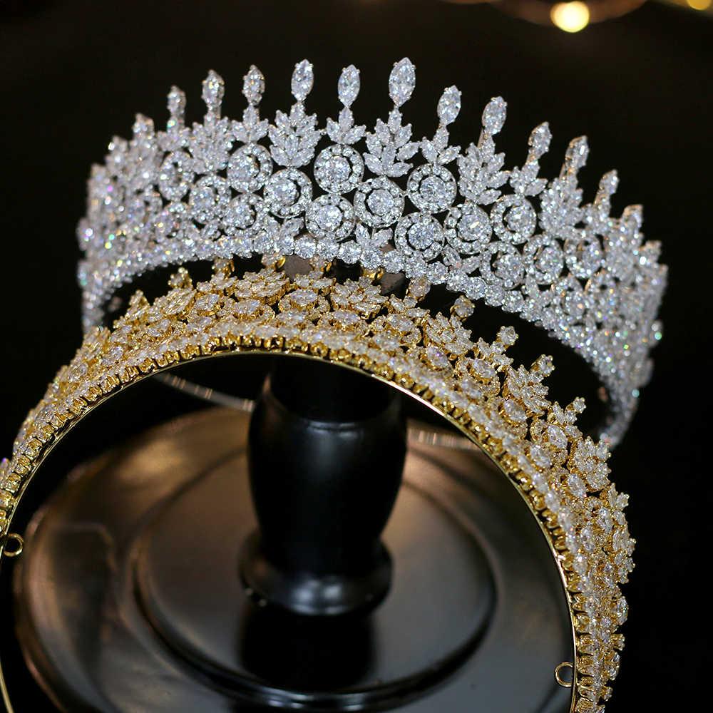 Lujo CZ Wedding Gold / Silver Crown Accesorios para el cabello Joyeria de boda Tocado Novia Corona femenina Conjunto de diseno
