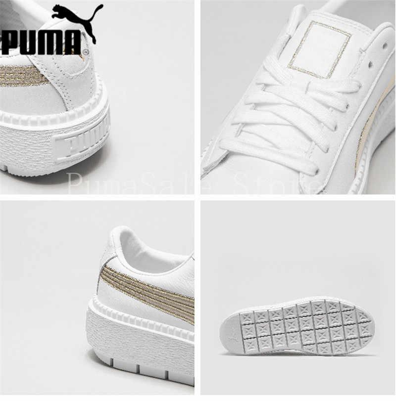 278abc2d26e ... PUMA Women s Platform Trace Sneaker Rihanna 4 Generation Thick Bottom  White Gold Shoes 367728-02