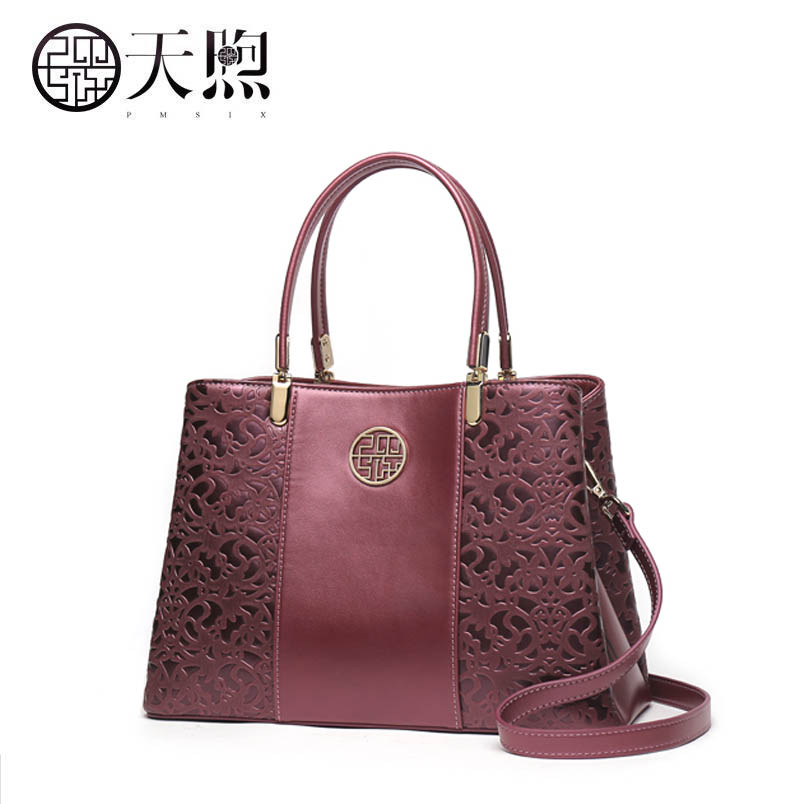 2017 New Pmsix Superior pu leather fashion Embossed women leather handbags women leather shoulder women's bag