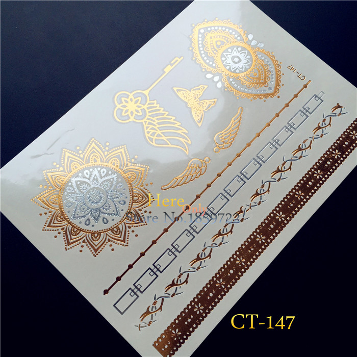 1PC Flash Metallic Tattoo Waterproof Jewel Fashion HT147 Indian Sun Flower Gold Wing Key Henna Lace Bracelet Sliver Tattoo Paste ...